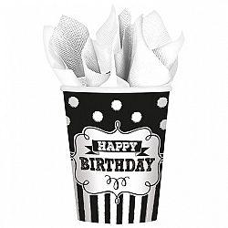 Amscan Poharak - fekete-fehér születésnap 8 db