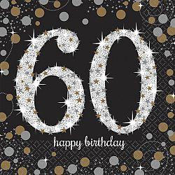Amscan Szalvéták 60. születésnap - csillogó arany