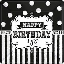 Amscan Tányérok - fekete-fehér születésnap 8 db