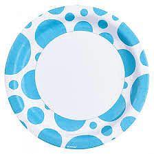 Amscan Tányérok - kék pöttyös 8 db