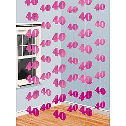 Függő dekoráció 40. születésnap - rózsaszín