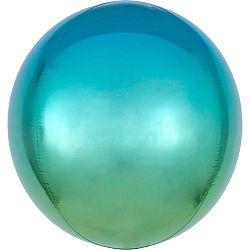 Gömb fólia lufi - kék-zöld ombré