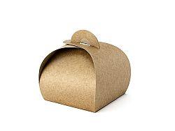 PartyDeco Ajándék dobozok címkével - barna 10 db