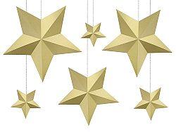 PartyDeco Csillagok dekoráció - arany 6 db