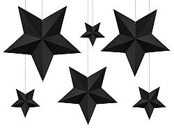 PartyDeco Csillagok dekoráció - fekete 6 db