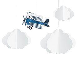 PartyDeco Függő dekoráció - repülőgép 4 db