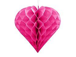 PartyDeco Függő dekoráció - Sötét rózsaszín szív