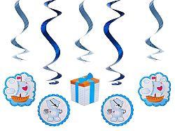 PartyDeco Függő dekorációk - kismedve - kék