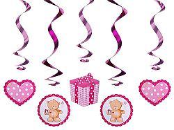 PartyDeco Függő dekorációk - kismedve - rózsaszín