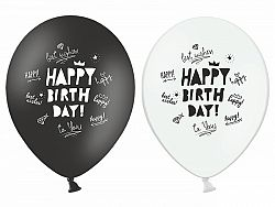 PartyDeco Happy Birthday pasztell fehér vagy fekete lufi