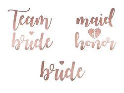 PartyDeco Ideiglenes tetoválás - Team Bride rózsaszín-arany