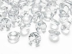 PartyDeco Konfetti - átlátszó gyémánt 20 mm