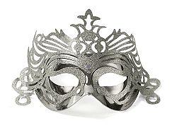 PartyDeco Party maszk díszítéssel - ezüst