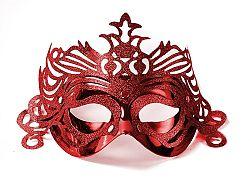 PartyDeco Party maszk díszítéssel - piros