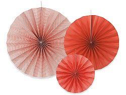 PartyDeco Piros dekorációs rozetták 3 db