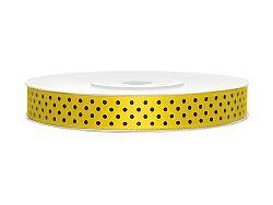 PartyDeco Szatén szalag - pöttyös, sárga 12 mm/25 m