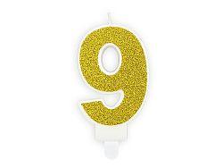 PartyDeco Születésnapi arany gyertya 9