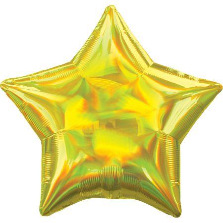 Amscan Fólia lufi - Holografikus sárga csillag
