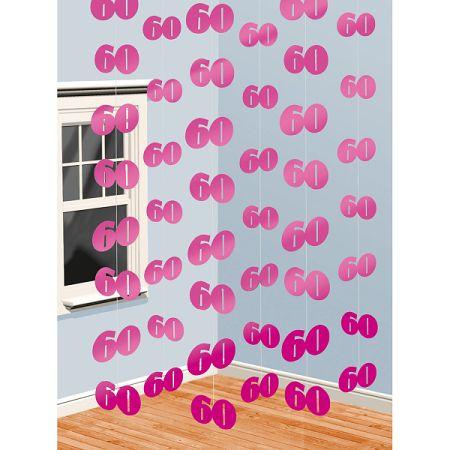Amscan Függő dekoráció 60. születésnap - rózsaszín