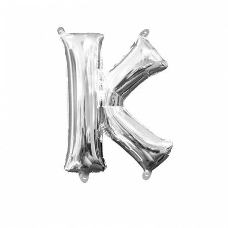 Amscan K betű mini fólia lufi 33 cm - ezüst