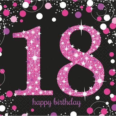 Amscan Szalvéták 18. születésnap - rózsaszín