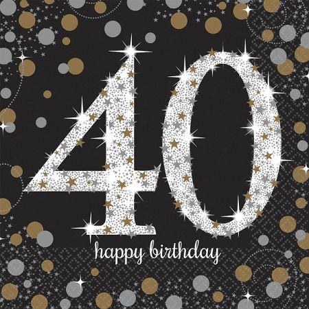 Amscan Szalvéták 40. születésnap - csillogó arany