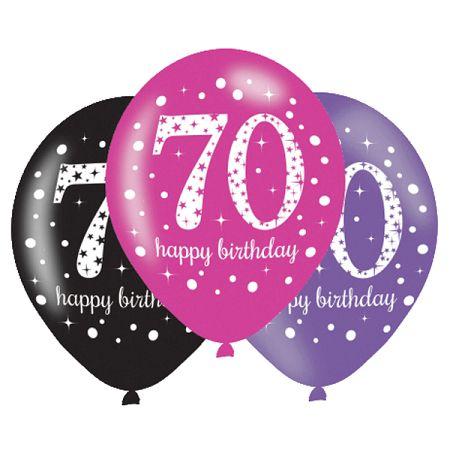 Amscan Születésnapi számos lufi 70 - rózsaszín party 6 db