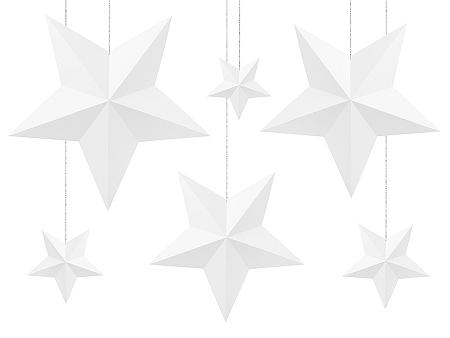PartyDeco Csillagok dekoráció - fehér 6 db