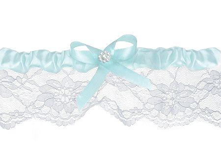 PartyDeco Esküvői harisnyakötő - csipkés, fehér, világoskék szalaggal