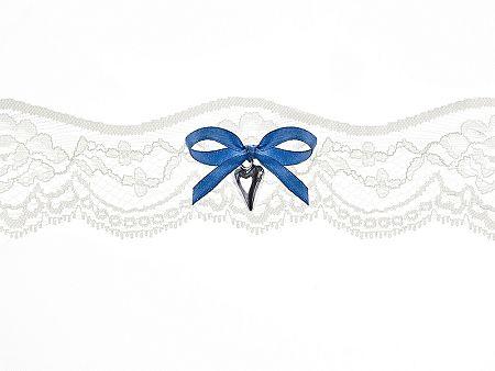 PartyDeco Esküvői harisnyakötő - csipkés, kék maslival