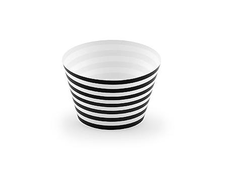 PartyDeco Muffin kosarak - fekete-fehér 6 db