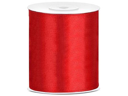 PartyDeco Szatén szalag - piros 100 mm/25 m
