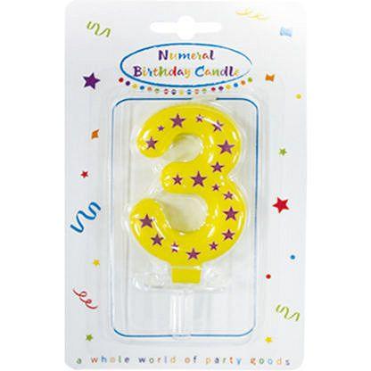 Procos Születésnapi szám gyertya 3 - csillagokkal